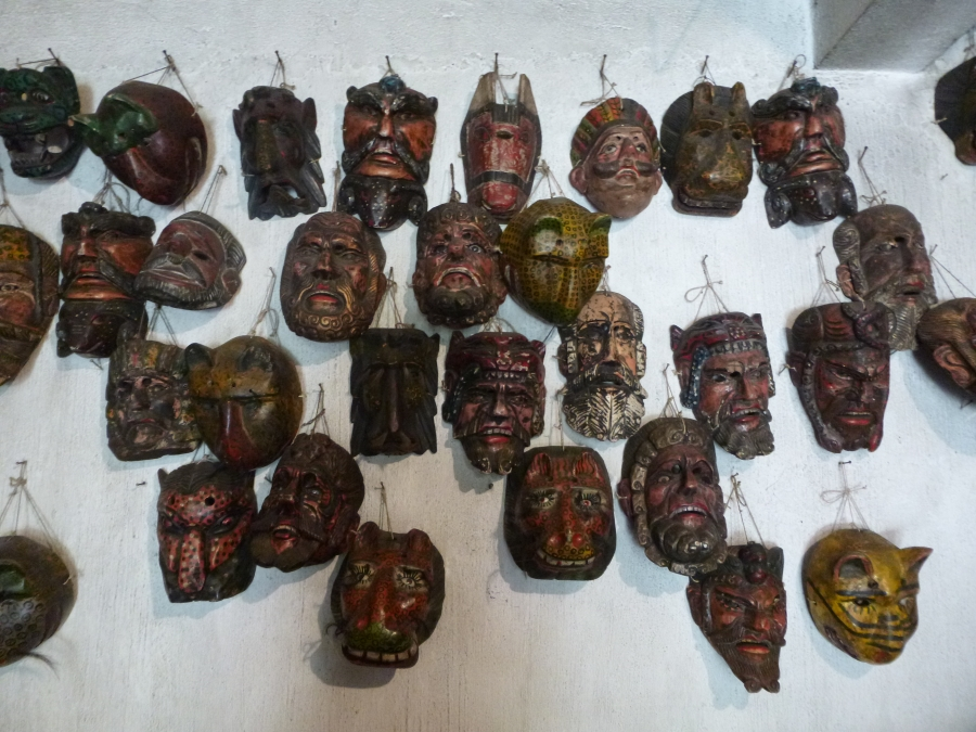 Mayan Masks with 50 Year Old Eye Balls
