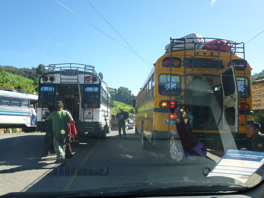 Chicken Bus Interchange In The Middle of Highway On The Way to Chichicastenango