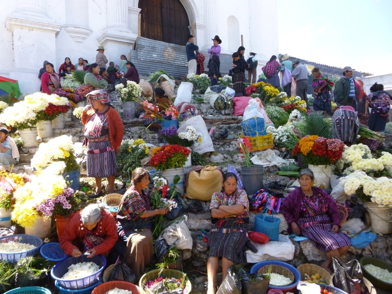 Street Market in Chichicastenango in Front of the Saint Thomas Church