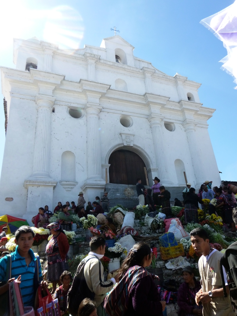 Crazy Marketers and Worshippers Outside of One of the Chichicastenango Churches