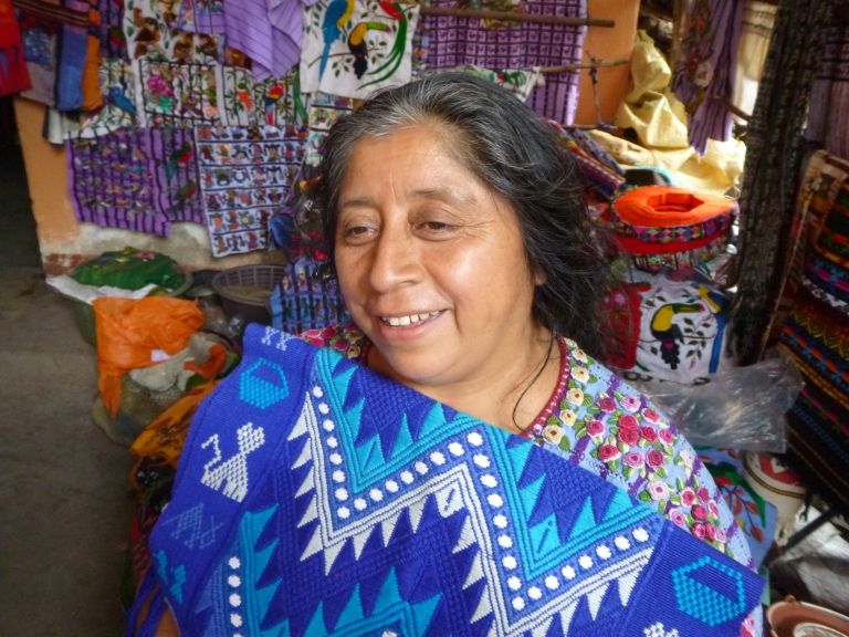 Mayan Lady in Her Huipil and My Purchase!