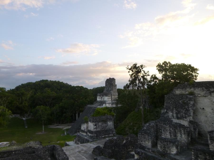 Tikal Gran Plaza At Dusk
