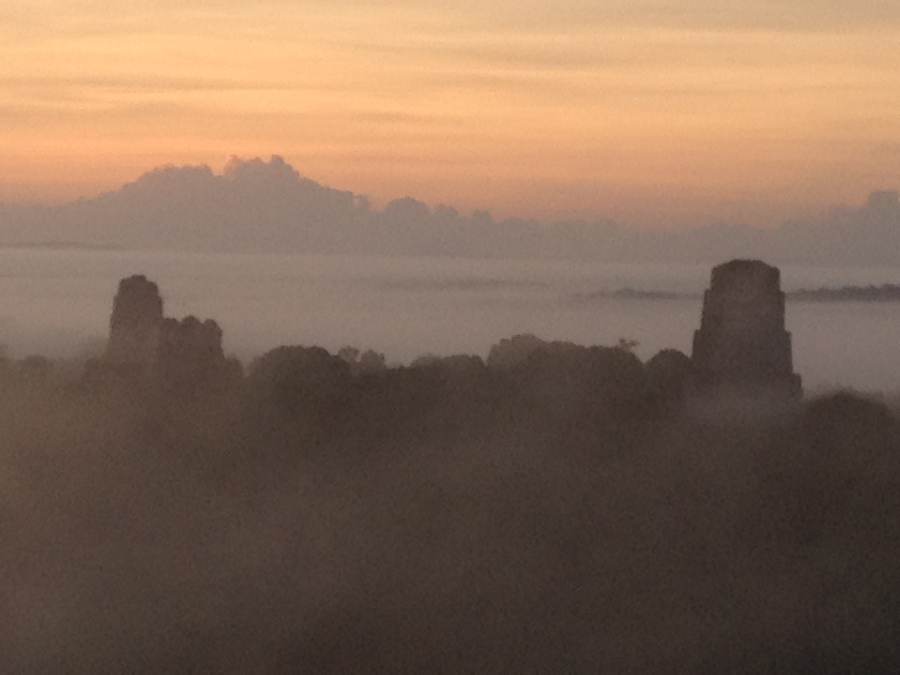 View of the Gran Plaza of Tikal From Temple IV at Sunrise