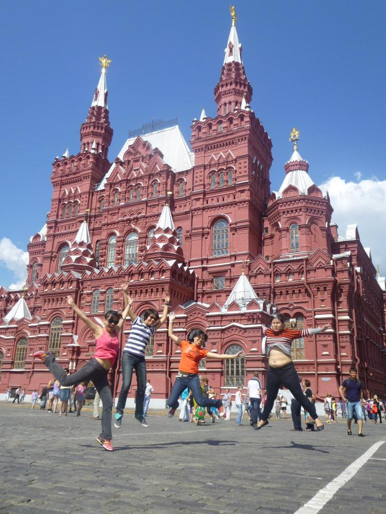 Jump and aim high in Moscow's Red Square