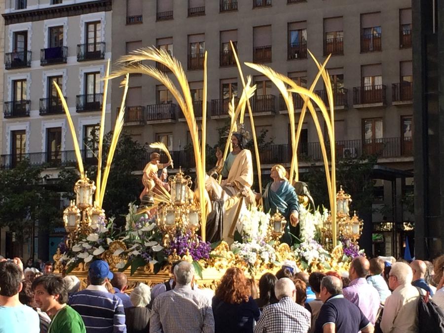 Procession of Viernes Santo in Zaragoza - in Plaze del Pilar