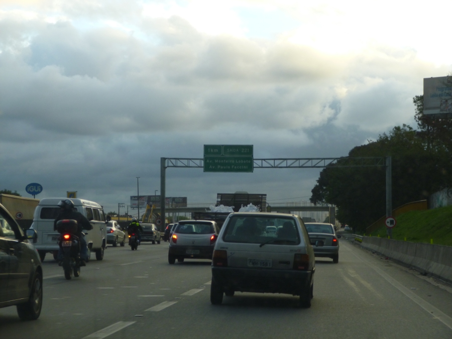 Sao Paulo Highway From Guarulhos Airport at 5PM in the Afternoon