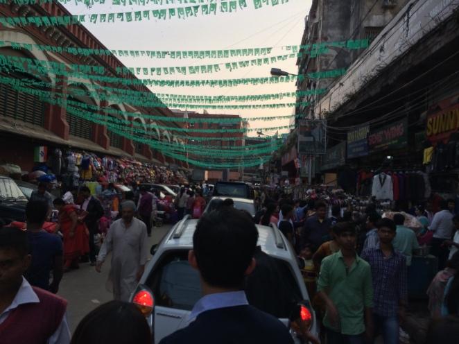 New Market Kolkata - Full of people and car honking