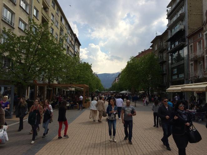 Pedestrian eating and shopping street - Vitosha Boulevard