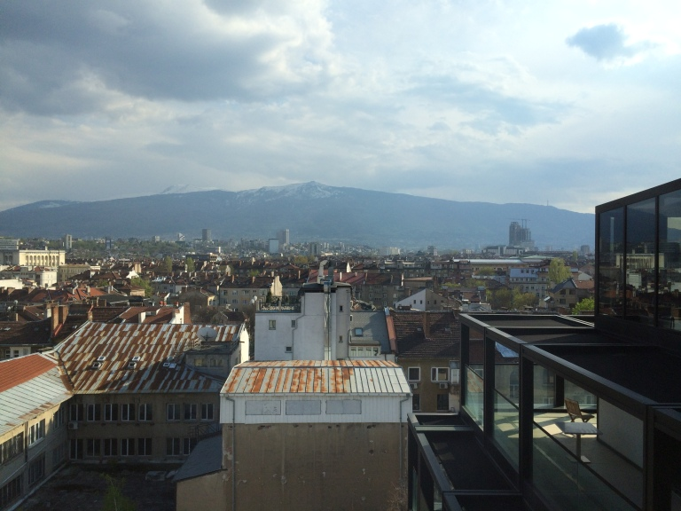 View of Vitosha Mountain from Sense Rooftop Bar