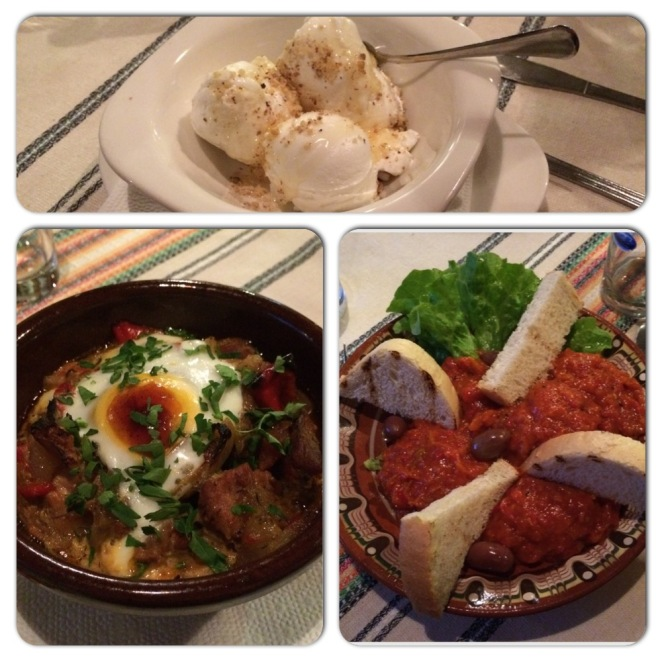 Meal at Chevermetto - From top clockwise: Buffalo Yoghurt with Nut and Honey, Lyutenitsa Pepper Dip, and Pork Kavarma