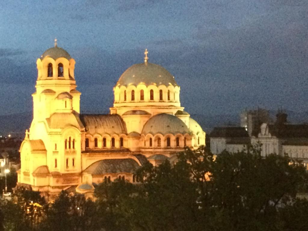 Alexander Nevskii Church from Sense Rooftop Bar at Dusk