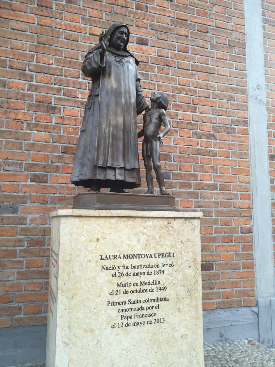 Statue of Saint Laura Montoya In Front of Jerico's Cathedral