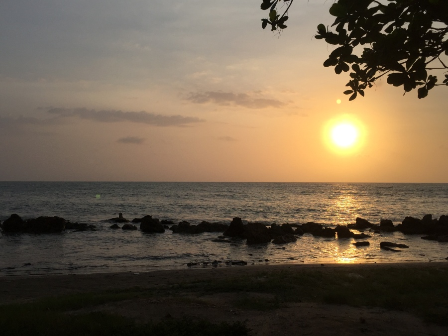 Luckily We Saw A Beautiful Sunset While Walking Along The Beach From Bocagrande To Cartagena's Old Town