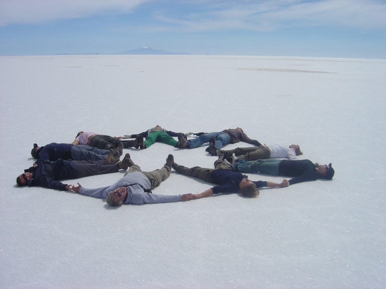 Playing Around in Salar de Uyuni (Salt Plain of Uyuni), Bolivia