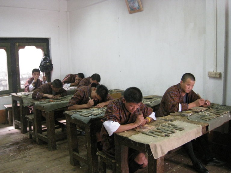 Woodcarving Training at National Institute For Zorig Chusum in Thimpu