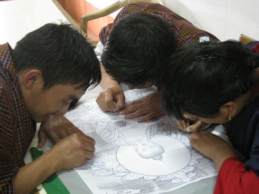 Designing A Thangka At National Institute For Zorig Chusum in Thimpu