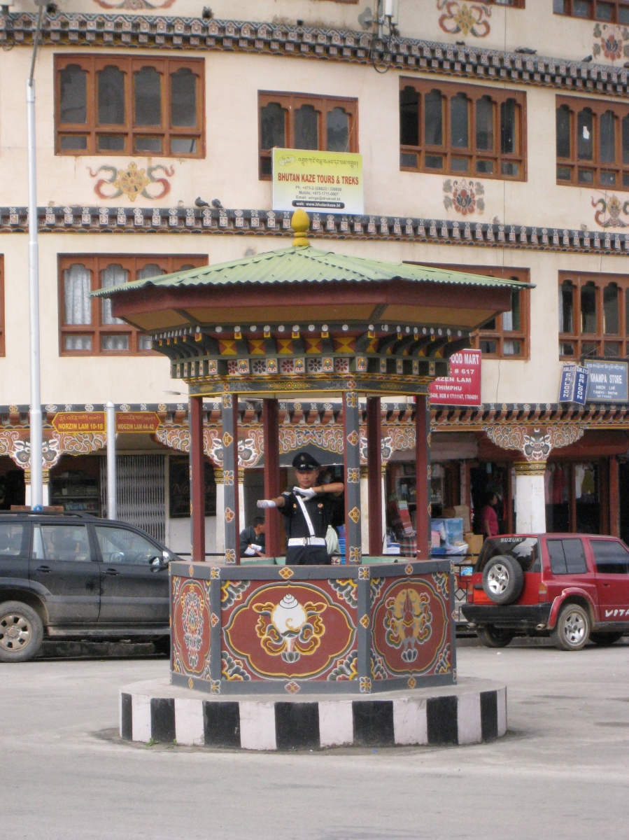 Policeman Directing Traffic in the Centre of Thimpu