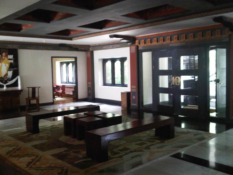 Uma Paro Reception Area - Beautiful Hotel With Architectural Style That is True Bhutanese