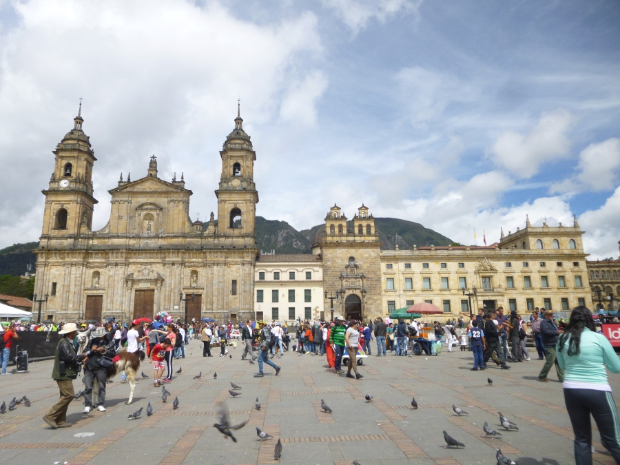 One side of Plaza de Bolivar, Bogota