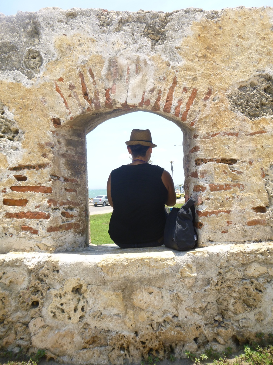 Taking A Break From The Heat On The Old Walls of Cartagena