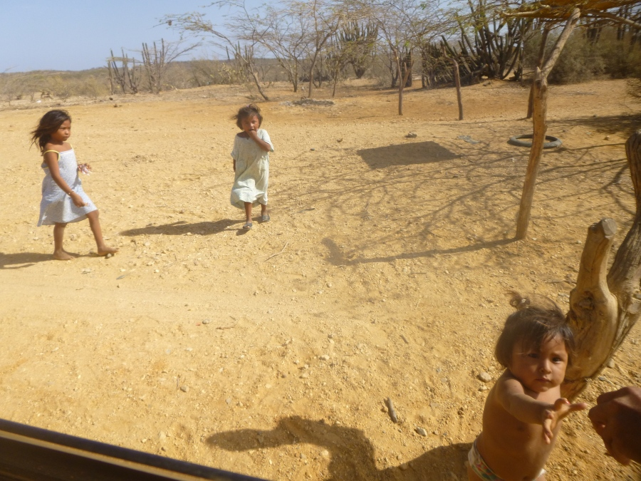 Wayuu Kids At One of the Toll (Peajes) - Reaching Up To Get His Cookies