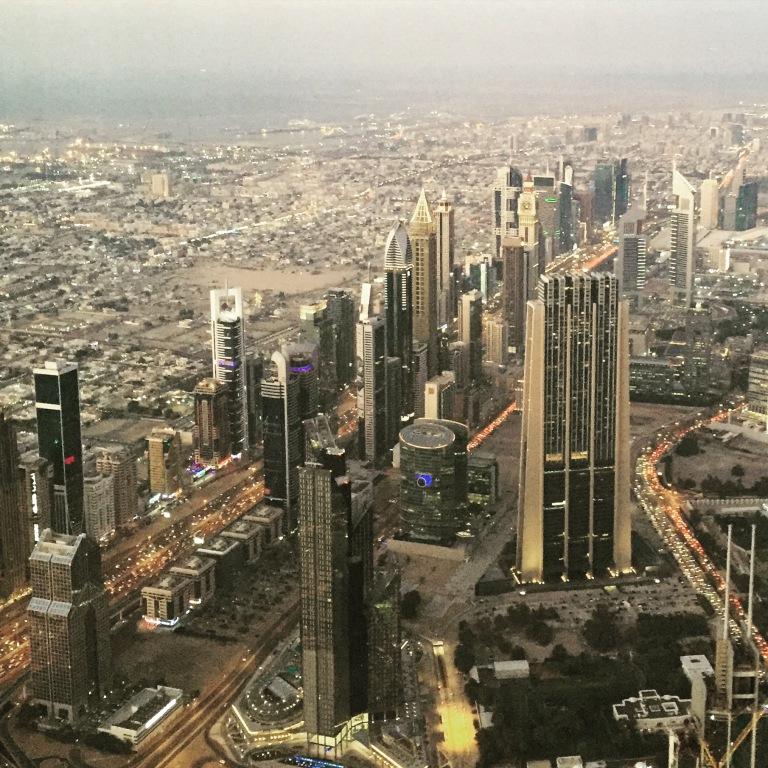 Built-up and bustling Sheikh Zayed road at dusk