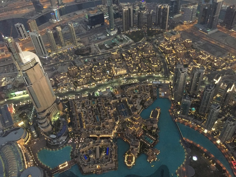The Address Downtown hotel and Dubai Fountain from the 148th floor of Burj Khalifa