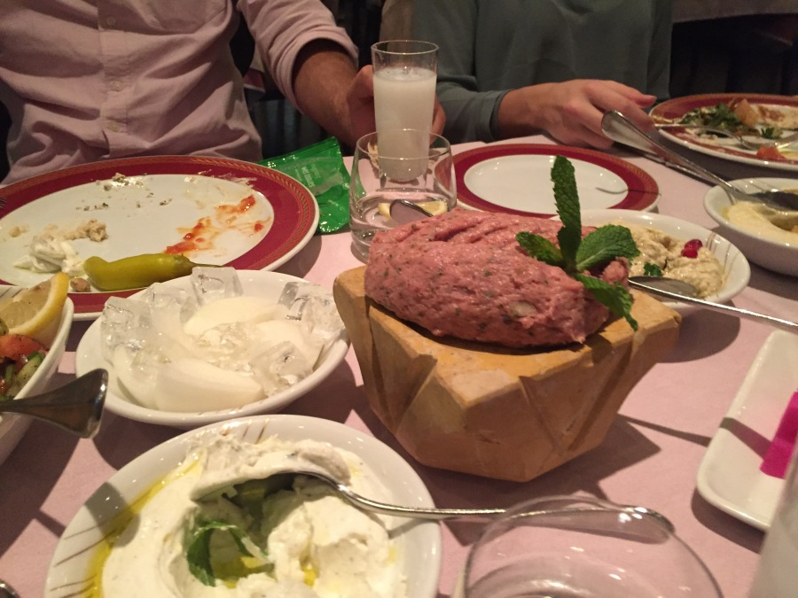 Raw kibbeh at Al Nafoorah