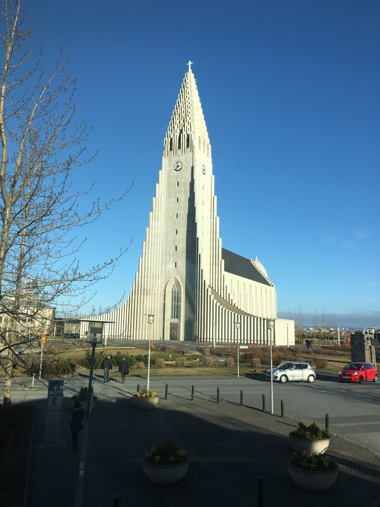 View of Hallgrímskirkja from our table at Cafe Loki in Reykjavik