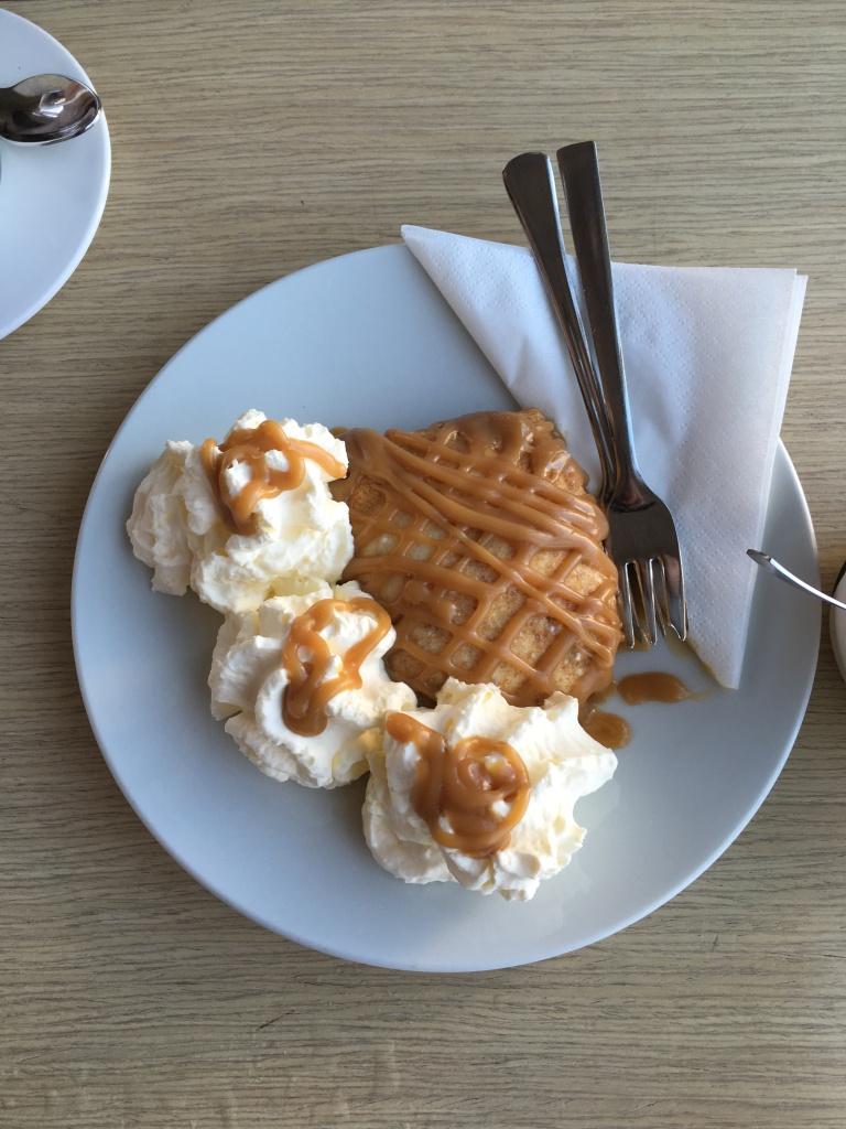 Pancake with Skyr and Caramel in Cafe Loki