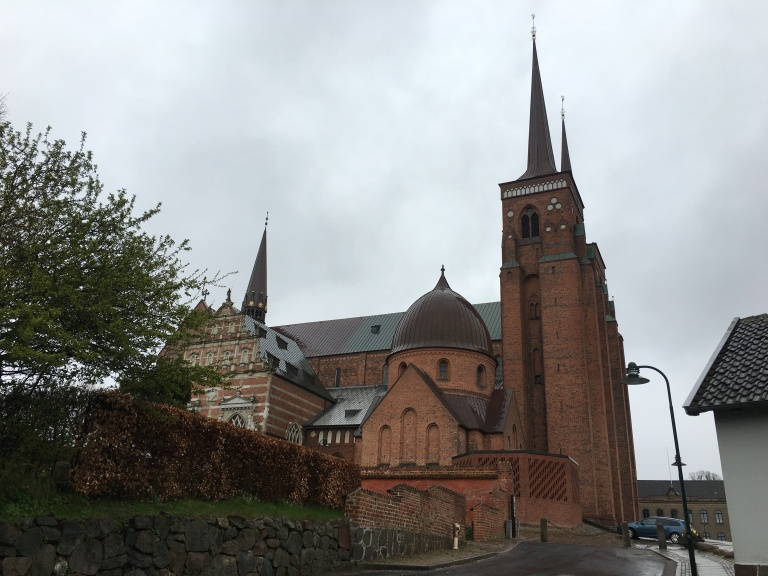 Side view of the Roskilde Cathedral. The who's who of Denmark are buried there. The Cathedral has been declared a UNESCO heritage.