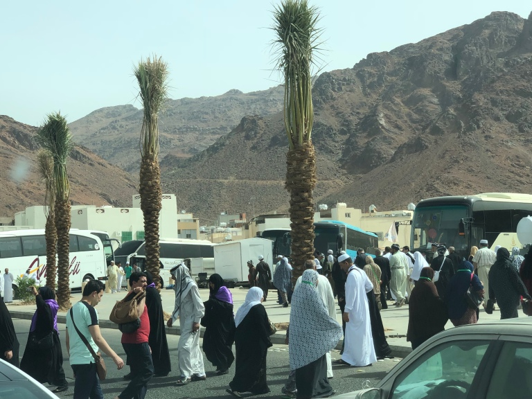 Groups of Pilgrims in Medina. They just visited a battle site if the second battle between Muslim and Non-Muslim.